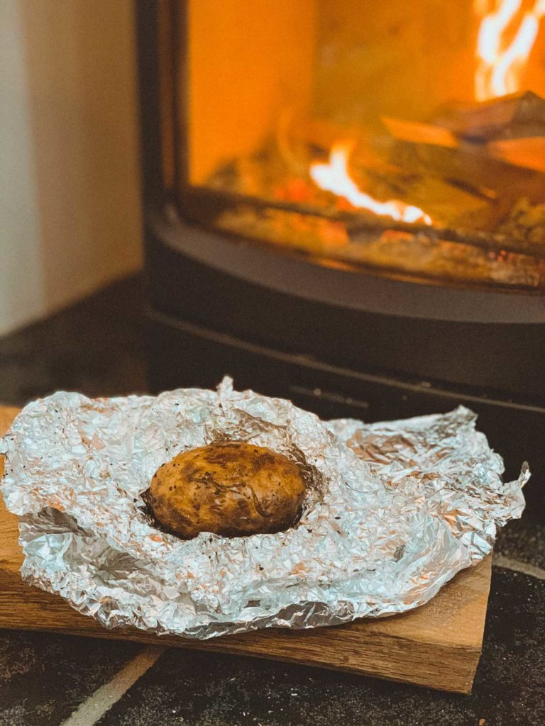 wood stove baked potato