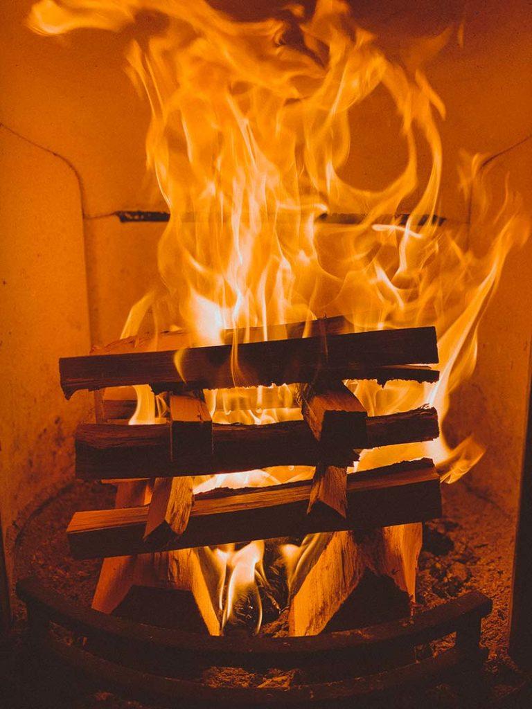 kindling burning wood burner