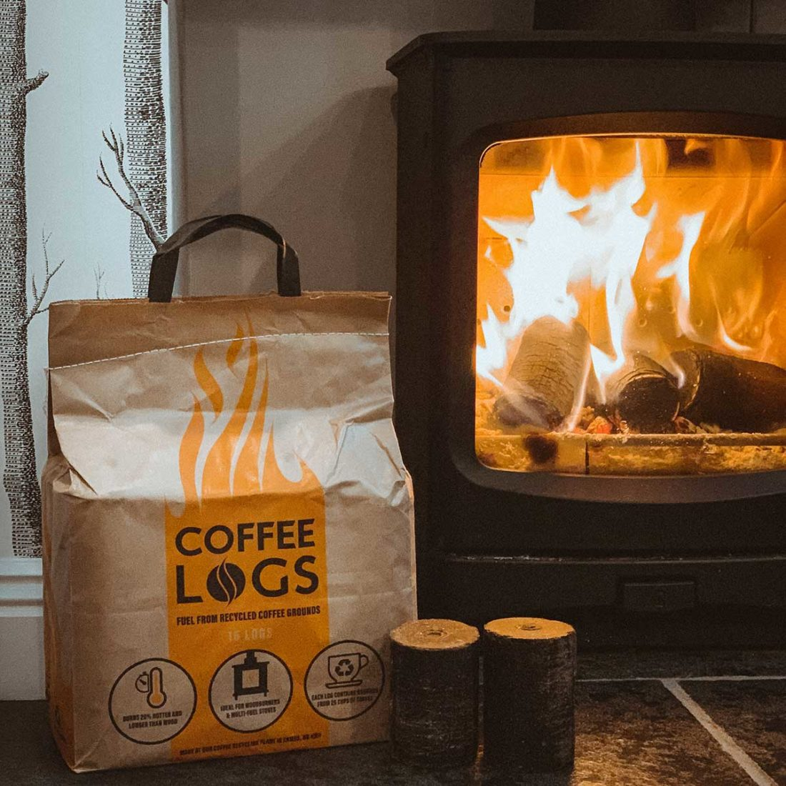 coffee logs for the wood burner stove