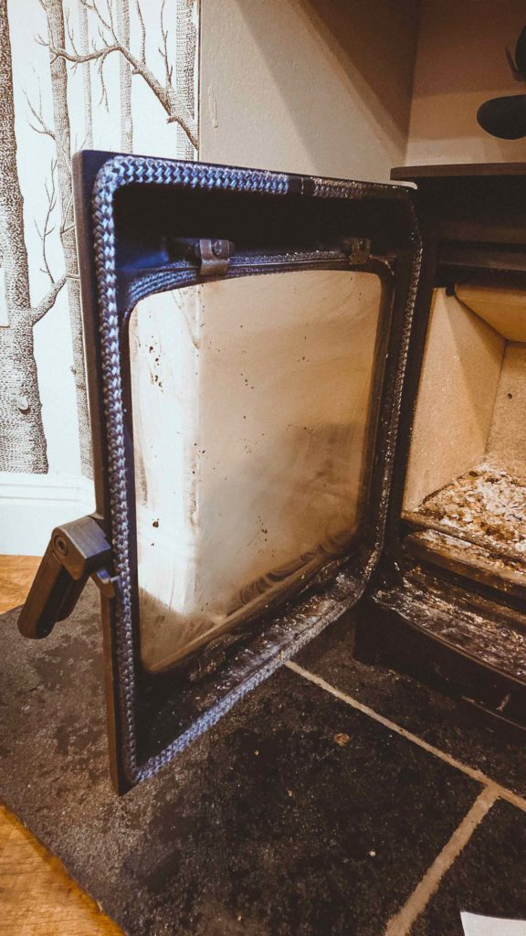 wood burner stove glass cleaning